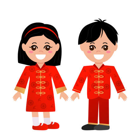 Asian cute children in Chinese national costumes. boy and girl are smiling. vector illustration isolated on white background