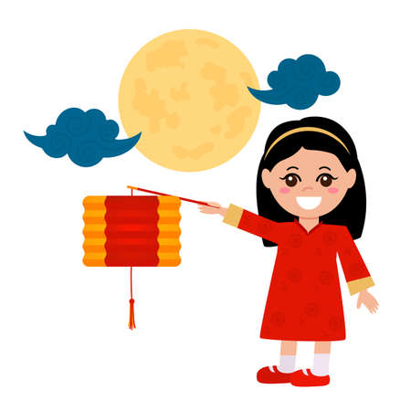 Mid-Autumn Festival in China. Chinese girl holding a flashlight against the background of the full moon. vector illustration