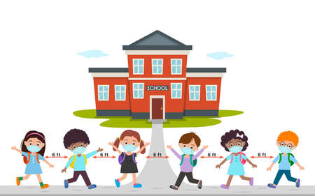 cute children in medical masks go back to school. the concept of quarantine and social distance during the virus epidemic. vector illustration isolated on white background