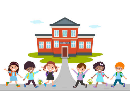 postcard from September 1 with the words Back to school . Cheerful children with backpacks. knowledge day concept. vector illustration isolated on white background Ilustracja