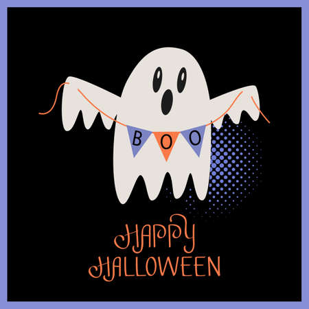 Cute ghost with a garland and the inscription Boo. Happy halloween greeting lettering on a postcard. flat vector illustration isolated