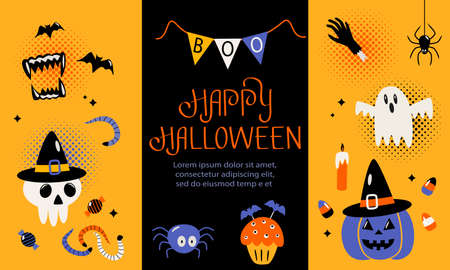 Happy Halloween banner or greeting card with hand lettering. Background with jack lamp, skull, black cat, worms, spider, ghost, eye, candy. Vector illustration Ilustração