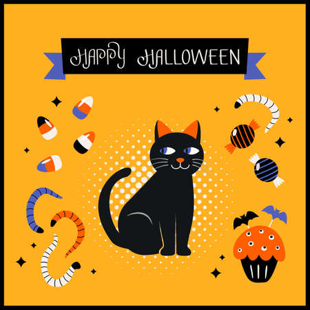 Happy Halloween banner or greeting card with hand lettering. Black cat, candies, worms, cupcake for Halloween. vector illustration in comic style