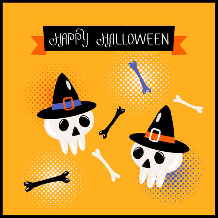 Happy Halloween banner or greeting card with hand lettering. Human skulls in hats with bones. vector illustration in comic style