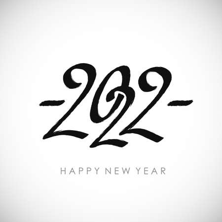 Black calligraphy 2022   design. Flat vector template for new year illustration with lettering