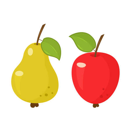 set of fruits from apple and pear. icons isolated on white background. vector illustration Ilustração