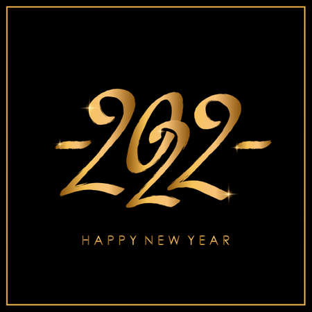 Black calligraphy 2022 logo design. Flat vector template for new year illustration with lettering
