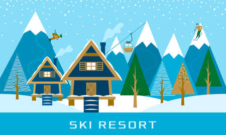 Ski resort, aerial lift with people rolling from the mountains, a wooden cottage on the background of the forest. flat vector illustration in linear abstract style Ilustração