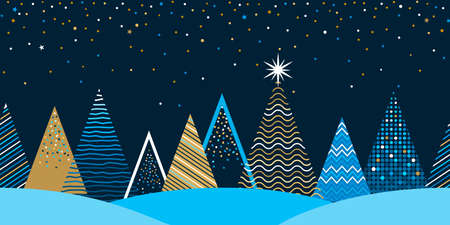 seamless Christmas winter pattern. stylized Christmas trees in the forest with a Christmas tree with a star. festive border for web and print. concept Xmas. vector illustration