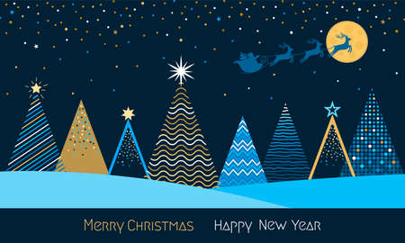 greeting card with Christmas and New Year. Winter forest with stylized Christmas trees, snow and drifts. Xmas and winter holidays concept. vector illustration isolated