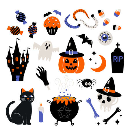 set of icons stickers for halloween. characters jack lamp, skull, witch's cauldron, black cat, eyes, worms, monster hand, bat. vector illustration isolated on white background Ilustração