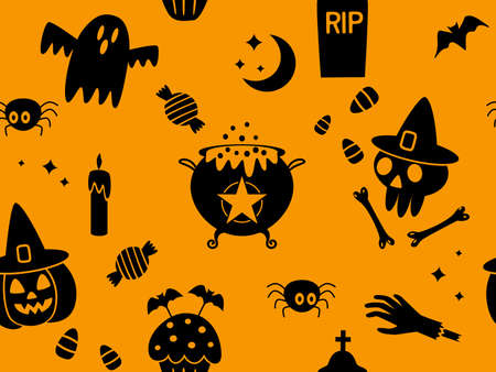 seamless pattern happy halloween with holiday symbols jack lamp, skull, black cat, worms, bat, candle, cupcake, ghost boo. vector illustration isolated on orange