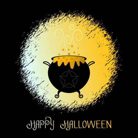 boiling cauldron of the witch for the halloween holiday. greeting card. vector illustration isolated