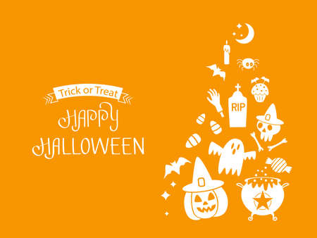 Happy Halloween banner or party invitation background with jack lamp, skull, witch's cauldron, ghost, grave, worms, spider, ghost, eye, candy. Vector illustration on orange background