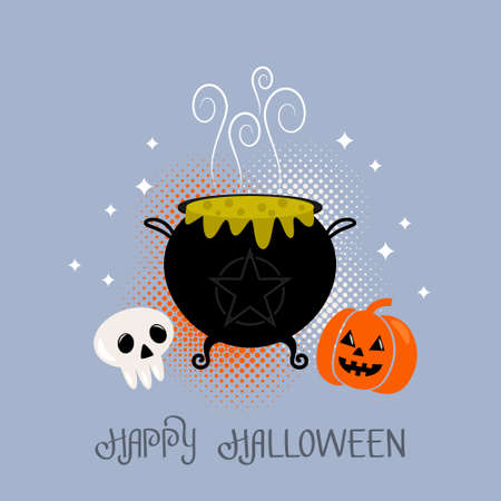 Happy Halloween banner or greeting card with hand lettering. black cauldron of witches with green potion and eyes, pumpkin and skull for Halloween. vector illustration in comic style