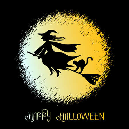 greeting card with text Happy Halloween. witch on a broomstick with a black cat flying on a broomstick. vector illustration