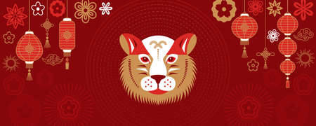 Happy Chinese New Year 2022. greeting card or banner. Geometric face of a tiger against the background of Chinese lanterns and flowers in Asian style. vector illustration on red background