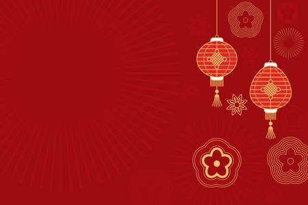 Asian traditional background with Chinese lanterns, flowers and ornaments. idle background red with gold. vector illustration Ilustração
