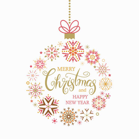 Merry Christmas quote in a Christmas ball ornament for the Christmas tree. Unique hand lettering. Design element for greeting cards banners and flyers. Xmas concept. vector