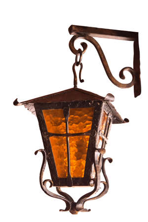 architectural lighting design: old wrought-iron lamp on a white background