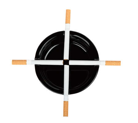 ashtray: Cigarettes are a black ashtray on a white background