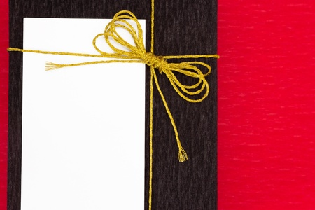 Stylishly wrapped gift with card photo