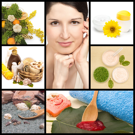Spa and organic cosmetics collage made of seven images. Beautiful woman with perfect skin, herbs, natural body scrub, sea salt and creams with green leaves photo