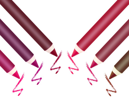 lip pencil: Different colors of lip liner on white background Stock Photo