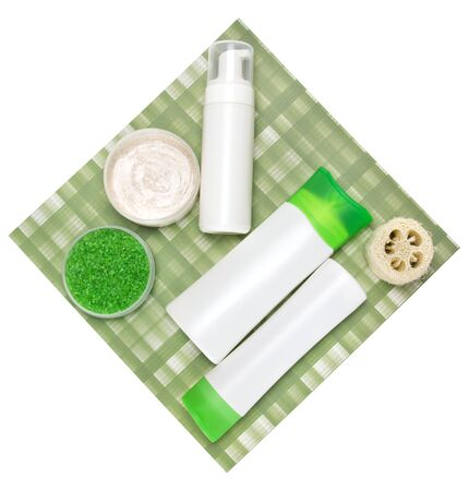 Composition with different cosmetic products for body care photo