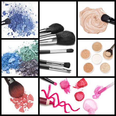 Collection of makeup cosmetics: foundation, loose cosmetic powder, lip liner, lip gloss, lipstick, blush and eyeshadow with brushes. Collage made of seven images