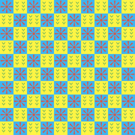 Bright spring seamless checkered pattern. Orange sun and green sprouts Vector