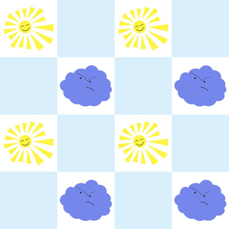 babyish: Cheerful wallpaper seamless pattern. Laughing yellow sun and blue angry cloud