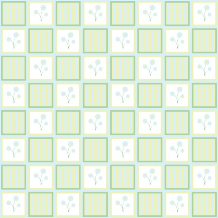 Gentle floral seamless checkered wallpaper pattern in a contemporary style. Calm pastel colors Vector