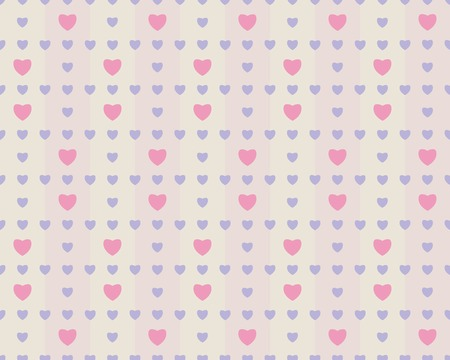muted: Gentle romantic seamless pattern with hearts. Calm muted colors