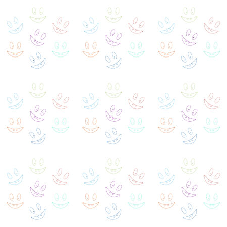 toothy: Cheerful seamless pattern with laughing toothy smileys. Varicolored smiles Illustration