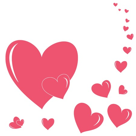Romantic seamless pattern with different size hearts bright pink color Vector