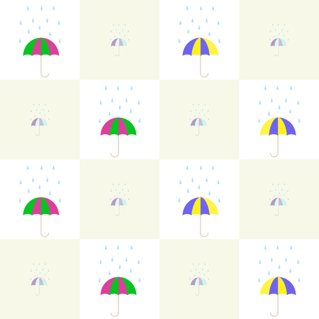 cellule: Varicolored umbrellas under the falling rain drops checkered pattern Illustration