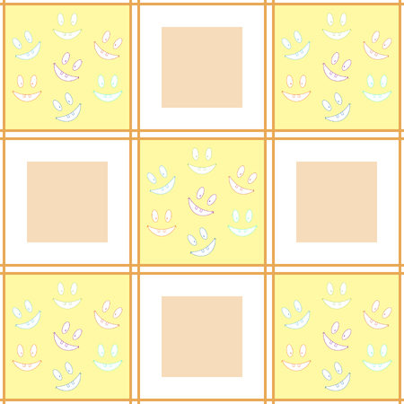cellule: Cheerful checkered seamless pattern with laughing toothy smileys. Varicolored smiles