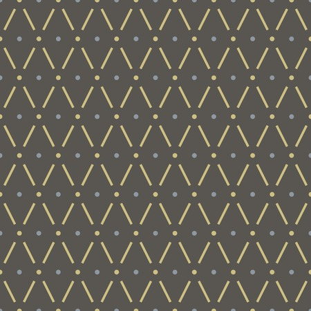 Abstract seamless geometric pattern. Rhombus and peas. Yellow, blue and dark gray colors Illustration