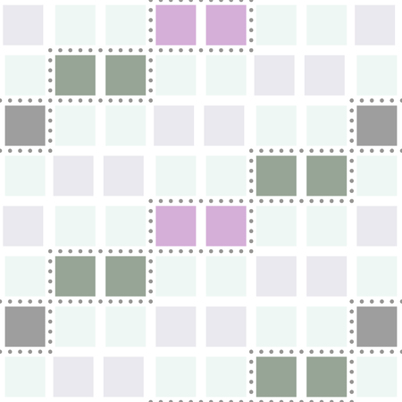 Abstract seamless geometric pattern. Cells and small circles. Gray, green and purple colors