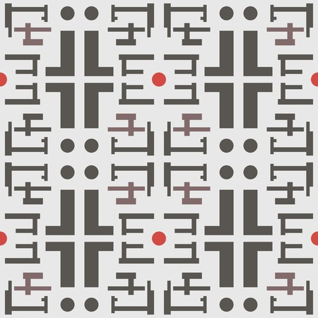 complex: Abstract seamless geometric pattern in a modern style. Complex shapes and circles. Gray, red, brown colors