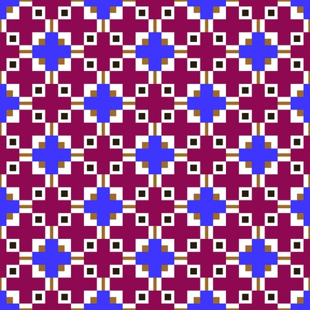 Abstract seamless pattern. Geometric textile ornament made of crosses. Crimson, blue, brown, black, white colors Vector