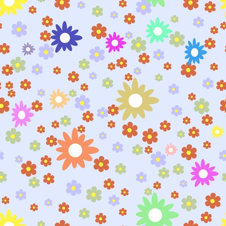 Seamless floral pattern. Randomly scattered colorful multicolored flowers of different sizes Vector