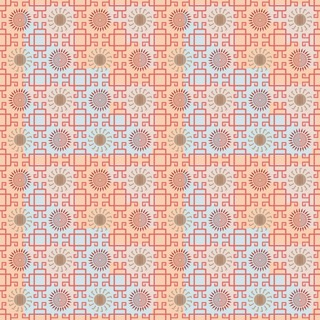 mesoamerica: Seamless pattern with Maya style elements. Orange, blue, red, brown colors