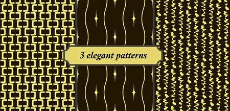 oscillations: Set of 3 elegant seamless patterns. Black and yellow colors Illustration