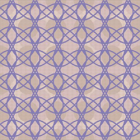 interlacing: Elegant seamless pattern of interlacing curves. Vector illustration for beautiful fashionable design. Purple, dusty pink, sand colors Illustration