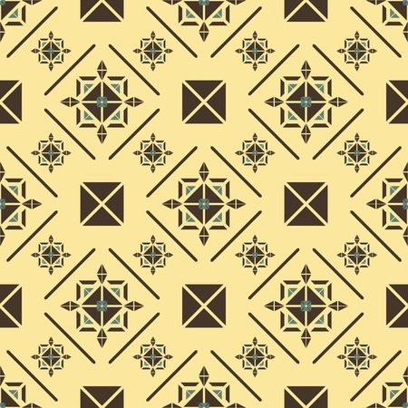 lordly: Elegant seamless pattern in royal style. Beautiful contrast print in yellow, brown, blue colors. Vector illustration for various creative projects