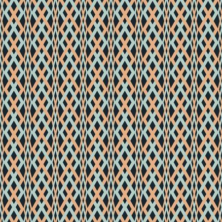 roundish: Abstract seamless braided pattern. Blue, orange, black colors. Optical illusion of volume and plasticity Illustration