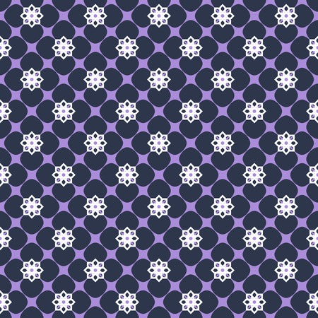graphically: Beautiful elegant floral seamless print. Graphically carved flowers. Dark blue, purple, white colors. Contrasting fashionable backdrop Illustration