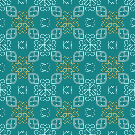 a charming: Charming seamless pattern with flowers of hearts. Gentle feminine print. Dull blue, white, mustard colors